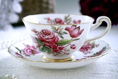 Royal Chelsea Tea Cup and Saucer, English Bone China Hand Painted Floral Teacup…
