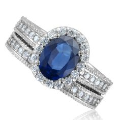 Milgrain Sapphire Ring Diamond Wedding Ring Bridal Set in 18k White Gold Halo Ring (G, SI1, 2.56 cttw), 8x6mm, Certificate of Authenticity