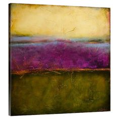 Perfect displayed above the living room sofa or grouped in a colorful vignette, this chic canvas print features an abstract design in green, purple, and yel...