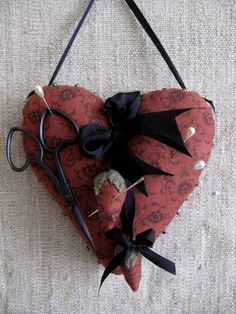 Primitive Heart Pincushion Pinkeep E PATTERN by cheswickcompany. $4.95, via Etsy.