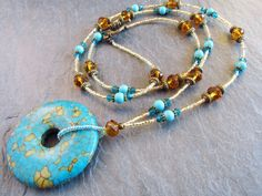 Mosaic turquoise necklace pendant necklace by TheClassyJewelryBox