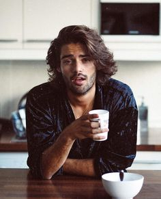 Nothing beats a hot cup of coffee 😛 Mens Messy Hairstyles, Haircuts For Men, Hair And Beard Styles, Curly Hair Styles, Mens Long Hair Styles, Gents Hair Style, Wavy Hair Men, Long Hair Guys, Beautiful Men Faces