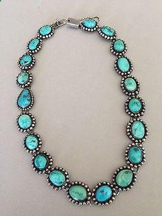 Stunning FEDERICO JIMINEZ Vintage Turquoise Necklace - 19 1/2
