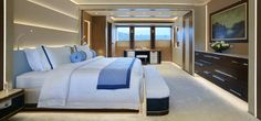 M/Y Galactica Super Nova by Heesen Yachts Interiors by Sinot Exclusive Yacht Design exterior by Espen Oeino Luxury Yacht Interior, Luxury Yachts, Churchill, Interior Design Guide, Bedroom Images, Yacht Design, Design Inspiration, The Incredibles, Cabin