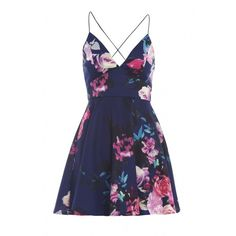 AX Paris Floral Plunge Front Skater Dress found on Polyvore featuring polyvore, fashion, clothing, dresses, short dress, vestido, short dresses, skater dress, floral summer dresses and floral flare dress