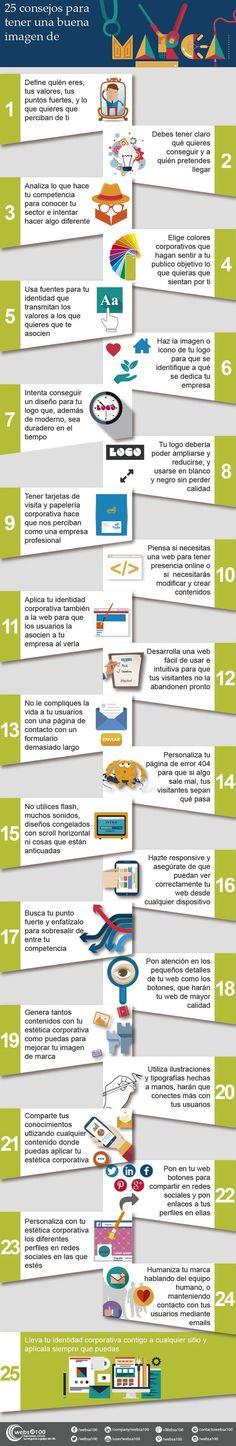 25 consejos para tener una buena imagen de marca. Infografía en español. #CommunityManager