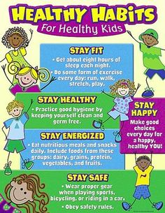 Healthy Habits for Healthy Kids Chart In this poster we can understand all essential and important health and nutrition for early childhood education. it is an easy to tool to teach the healthy habits to the children. i selected this poster because its ve Healthy Habits For Kids, Healthy Eating Habits, How To Stay Healthy, Healthy Living, Eat Healthy, Healthy Children, Healthy Weight, Healthy Treats, Healthy Choices