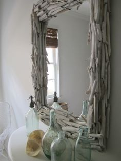 This is a diy mirror, fun right?  The best thhing about it?  Go to your local junk store pick up an ugly mirror and voila!