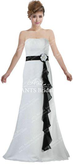 >> Click to Buy << ANTS R114 Vintage Chiffon Long Black Sashes Bridesmaid Dresses Custom White #Affiliate