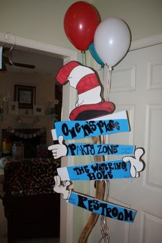 Cat in The Hat Party Sign.