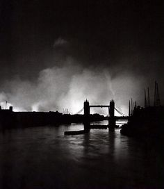 """""""Tower Bridge silhouetted against the fires burning on London's docks, ignited during German air raid attack on the city"""", by William Vandivert, September 1940 London History, British History, World History, The Blitz, Magnum, Air Raid, Old London, Vintage London, Blitz London"""