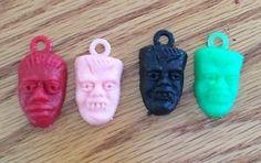 Vintage 1960s Universal Monster Head Plastic Charms Wolfman Frankenstein