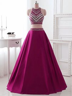 Two Pieces Prom Dress ,Brilliant Purple with Rhinestone
