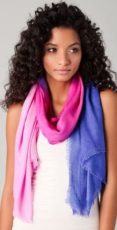 ombre scarf. i love the hair too, wish my curls would do that!