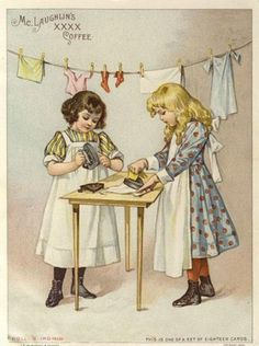 A trade card depicting two young ladies who are quite busy with laundry for their dolls! shared from BeadHappilyEverAfter
