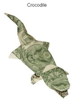 Folded money crocodile. For Boo's chore money he earns this week I am folding into a croc. He loves when I fold his dollars!