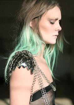 missing my green dip dye. Dip Dye Hair, Dyed Hair, Mermaid Outfit, Light Blue Green, Yellow, Elie Saab Spring, Spring Couture, Coloured Hair, Cute Beauty