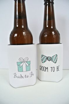 Bride to Be and Groom to Be Wedding Koozie by yourethatgirldesigns, $16.50