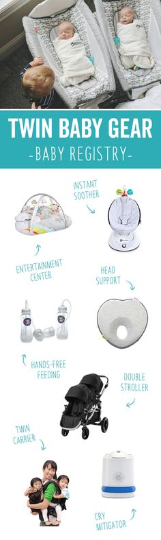 Twin Baby Gear Registry Having twins? Here are the best baby products for multiples, including Double Strollers, Infant Car Seats, High Chairs, Travel Systems and more gear that will make family life easier with babies. Bedtime Routine Baby, Baby Bedtime, Twin Strollers, Double Strollers, Twin Carrier, Baby Registry Checklist, Baby Bassinet, Baby List, How To Have Twins