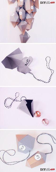 Calendario dell'Avvento fai da te con diamanti di cartone - facilissimo da realizzare con i nostri modelli stampabili!
