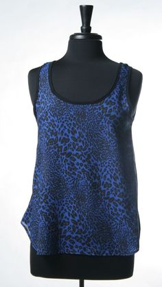 <3 Animal Print Lace-Back Top