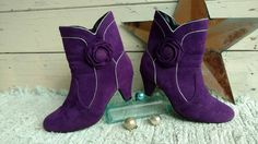 Check out this item in my Etsy shop https://www.etsy.com/listing/460115430/1980s-purple-velvet-ankle-boots-retro