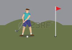 Ilustraci�n vectorial de un jugador de golf con club de golf que pone la pelota de golf a un agujero en campo de golf. photo