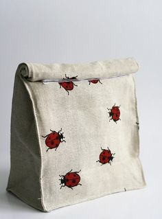 Lunch bag Eco friendly ladybird. Size 8x4 high 11. by JBworld