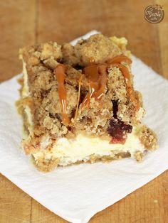 Barre cheesecake pomme cranberries, crumble à l'avoine