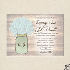 Mason Jar & Hydrangea Wedding Invitation by ChristinaElizabethD, $2.50