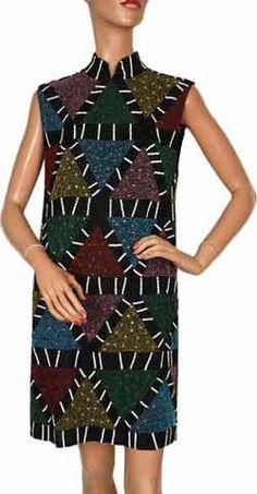 Karl Lagerfeld Beaded Dress Designer Vintage 80s Geometric Pattern - M