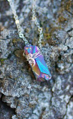 Stardust Titanium Quartz Charm Necklace by thefledgling on Etsy