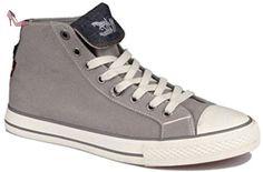 Levi's Manlo Park Grey White Canvas Mens Hi Fold Trainers Shoes Boots-44 - Chaussures levis (*Partner-Link)