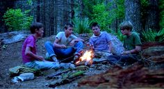 The cast of Stand by Me: Wil Wheaton, River Phoenix, Jerry O'Connell, and Corey Feldman