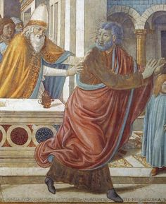 BENOZZO GOZZOLI (1421 - 1497) - Tabernacle of the Visitation: Expultion of Joachim from the Temple (detail). 1491. Transferred frescoes. Biblioteca Comunale, Castelfiorentino, Italy.