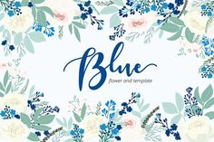 Blue flower hand drawn vector by beerjunk on @creativemarket