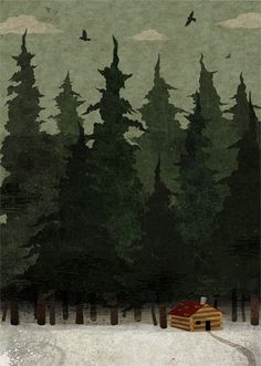 cabin in pines.