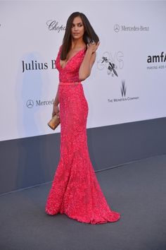 Irina Shayk in a gorgeous pink gown