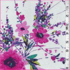 White Floral  Rayon Jersey Knit