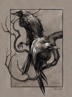 Huginn & Muninn from the Poetic Edda (Norse Mythology) by Daniel Govar Artist W . - Huginn & Muninn from the Poetic Edda (Norse Mythology) by Daniel Govar Artist Website: danielgovar. Art Viking, Viking Warrior, Viking Woman, Hugin Munin Tattoo, Odin Norse Mythology, Rabe Tattoo, Mythology Tattoos, Norse Tattoo, Tattoo Symbols