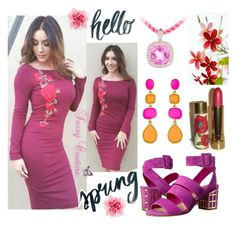 """""""Burgundy Floral"""" by westcoastcharmed ❤ liked on Polyvore featuring B Brian Atwood and Avon"""