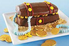 Hidden Treasure Chest Cake Recipe - Kraft Recipes treasur chest, hidden treasur, chest cake, pirat parti, parti idea, cake recipes