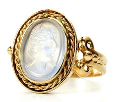 Early 20th century Moonstone Cameo Ring, 14k yellow gold, oval blue moonstone carved in the high relief form of a cameo