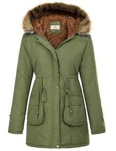 GRACE KARIN Women's Winter Warm Thicken Jacket Hooded Parka Coat Outwear CLAF1030-3 XL Army Green