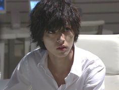 "L from Ep.4, 07/26/'15     [Preview, Ep.5] https://www.youtube.com/watch?v=s16IFiGHDNY&feature=youtu.be Kento Yamazaki, Masataka Kubota, Hinako Sano, Yutaka Matsushige.  J drama series ""Death Note"", 08/02/'15 [Ep. w/Eng. sub] http://www.dramatv.tv/search.html?keyword=Death+Note+%28Japanese+Drama%29"