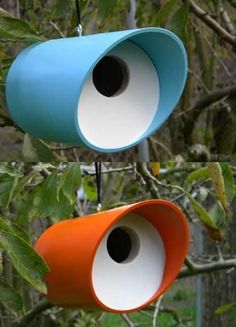 Mod Tube Birdhouses in Vinyl/PVC  Perfect nest spot and roost for cold nights. Set of 2~makes a swell gift for any occasion!
