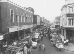 fig 519 Chapel Market from the east in Marks & Spencer store of on left (c) London Metropolitan Archives LMA photograph Old London, Camden London, London Look, Vintage London, East London, North London, London History, British History, Old Pictures