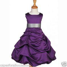 PURPLE PAGEANT TODDLER JUNIOR WEDDING FLOWER GIRL DRESS 2 3T 4 6 7 8 10 12 14 16[10,Purple]
