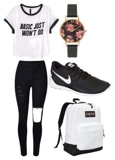 """""""Untitled #457"""" by kyrapples on Polyvore featuring Olivia Burton, H&M, NIKE, JanSport, women's clothing, women, female, woman, misses and juniors"""