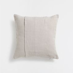 IVORY BANDED LINEN CUSHION COVER